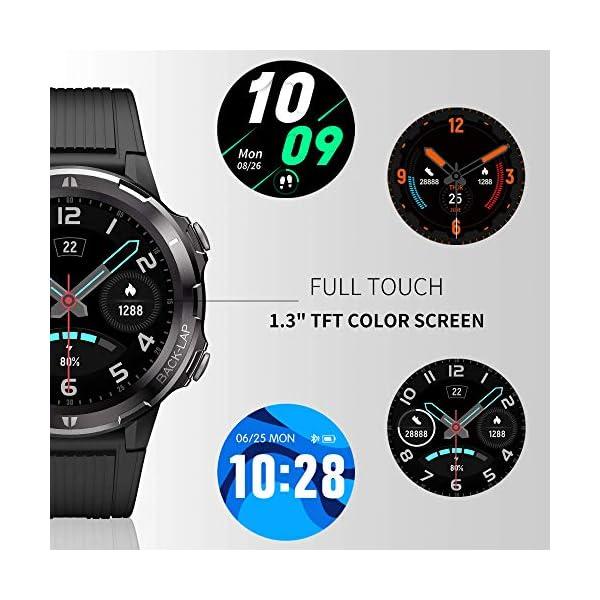Reloj Inteligente Hombre Mujer, GRDE Smartwatch Redondo 12 Modo Deportivo con (Monitor de Ritmo Cardíaco/Sueño/Calorías… 2