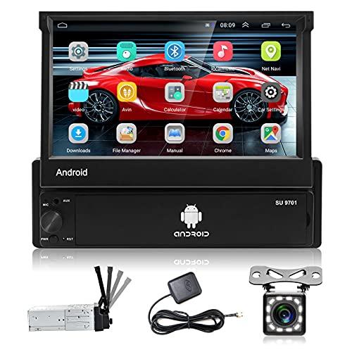 Podofo Autoradio Android 1 Din con Schermo a Scomparsa 7 pollici GPS Stereo Auto Bluetooth Radio Auto Vivavoce Microfono Integrato Antenna Touch Screen Navigatore/USB/WiFi/AUX+Telecamera Retromarcia