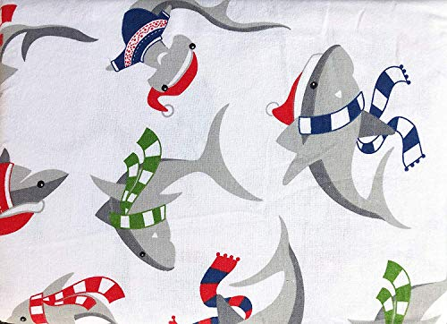 Max Studio Kids Bedding 4-Piece Full Size Bed - Cotton Flannel Sheet Set - Winter Sharks Wearing Scarves Red Blue Green Gray White