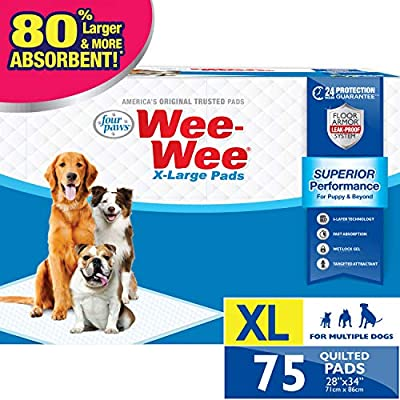 """Wee-Wee Puppy Training Pee Pads 75-Count 28"""" x 34"""" X-Large Size Pads for Dogs"""