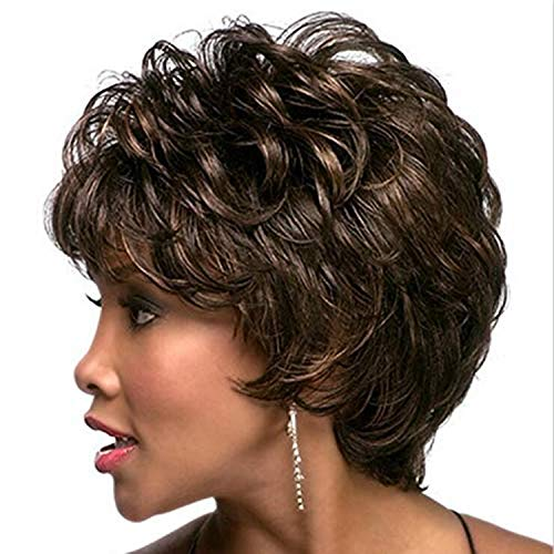 Wigs For Black Women Curly With Bangs Short Wig, Synthetic Wig Suitable For Daily And Party Wear