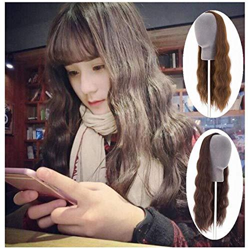 Wigs_Summer Hot New Product Wig pour femmes U-Half Headband Big Wavy Long Curly Hair Lady Long Straight Straight Hair-Rouleau long marron clair