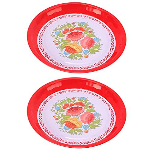 Cabilock 2 Piezas Plato Chino para Servir Comida China Bandeja de Comida de Boda Plato Esmaltado Contenedor de Aperitivos Chinos Tradicionales Suministros de Fiesta 25CM