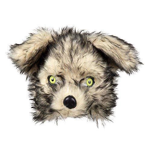 Boland 56758 - Plüsch-Halbmaske Wolf, Einheitsgröße, Beige und Schwarz, Gesichtsmaske, Tiermaske, Fellmaske, Wolf, Accessoire, Kostüm, Verkleidung, Karneval, Fasching, Mottoparty