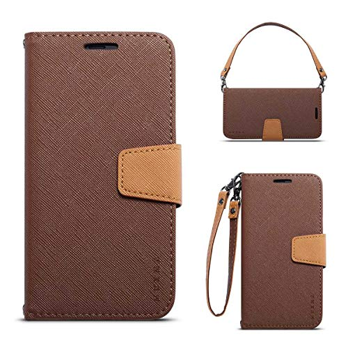 JEEXIA® Schutzhülle Für Nokia 6.1 Plus (2018), Retro PU Lederhülle Flip Cover Brieftasche Innenschlitzen Mit Stand Doppelte Farbe Ledertasche - Brown