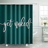 COLORPAPA Get Naked Duschvorhang, lustig, süße weiße Worte, Badezimmervorhänge, Vintage-Stil, Aquamarin, Heimdekoration, strapazierfähiges wasserdichtes Polyestergewebe 72