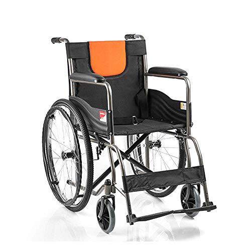 ZNZ - Sillón de ruedas de acero reforzado manual plegable para personas mayores en silla de ruedas con discapacidad, hinchable sin rueda trasera, tamaño en silla de ruedas, 61,5 x 91 cm