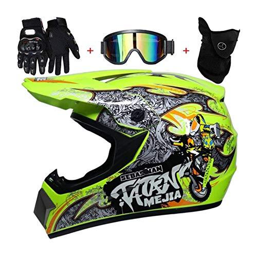 BLLJQ Casco Motocross, 4pcs Juego De Casco De Moto + Gafas + Guantes De Motocicleta + Mascarilla, para Hombre Mujer (Size : S(52-53cm))