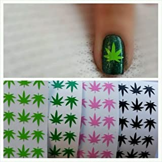Pot Weed Marijuana Leaf Vinyl Nail Art Decal Stickers- 100 pcs