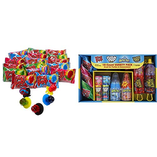 Ring Pop Individually Wrapped Bulk Variety Party Pack – 50Count Candy Lollipop Suckers w/ Assorted Flavors & Bazooka Candy Brands, Lollipop Variety Pack w/ Assorted Flavors of Ring Pop, Push Pop