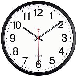 Foxtop Black Wall Clock, 12 Inch Silent Non-Ticking Quartz Battery Operated Round Easy to Read Home Office Classroom School Clock