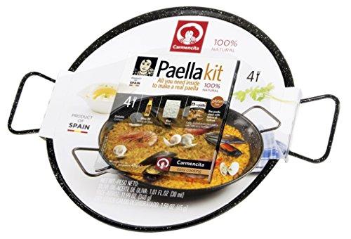 Carmencita Paella-Kit, Set: Olivenöl, Reis, Gewürzmischung, emaillierte Pfanne
