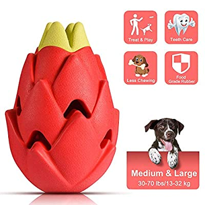Lovav Dog Chew Toys for Aggressive Chewers Medium Large Breed,Tough Dog Toys for Medium Large Dogs,Nearly Indestructible Dog Dental Toys,Interactive Treat Toys for Dogs-Pitaya
