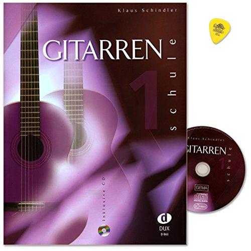 Gitarrenschule Band 1 von Klaus Schindler - klassische Gitarrenspieltechnik für Einzel- und Gruppenunterrichts - Lehrbuch mit CD und Dunlop Plek