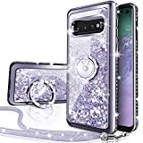 Silverback Galaxy S10 Case, Moving Liquid Holographic Sparkle Glitter Case with Kickstand, Bling Diamond Rhinestone Bumper W/Ring Slim Protective Samsung Galaxy S10 Case for Girls Women -Silver