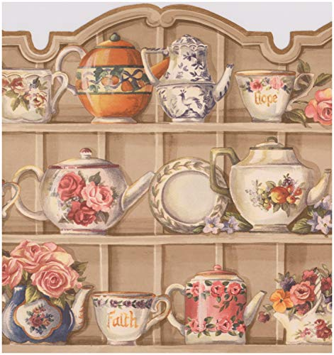 Beige Kitchen Cabinets with Plates Cups Flowers Kettle Wide Wallpaper Border Vintage Design, Roll 15' x 9.75''