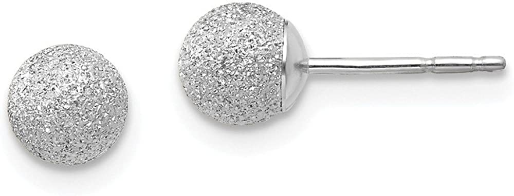 14k White Gold 5m Ball Post Stud Earrings Button Fine Jewelry For Women Gifts For Her