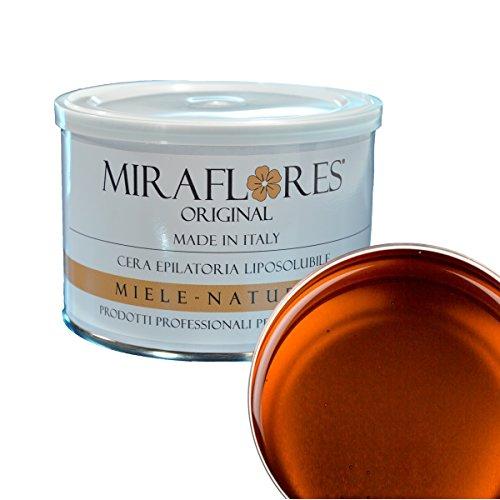 Cire Dépilatoire épilation professionnelle - liposoluble en pot de 400 ml - Miraflores original - adaptée à peaux sensibles, sèches, bronzé. anti-allergène et n'irrite pas la peau - Miel Naturel