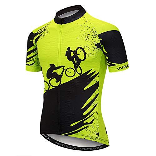 Herren Fahrradtrikot Kurzarm,Schwarz Grün Radfahrer Grafiktaschen Reflektierender Reißverschluss Schnelltrocknendes Mountain Road Shirt Top Sommer Mtb Bike Halbarm Trikot Für Rennsportbekleidung
