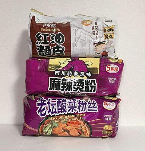 【白家小面3種口味】 「老?酸菜粉糸 」「麻辣?粉」 「紅油麺皮 」指定不可お任せ 3点入り