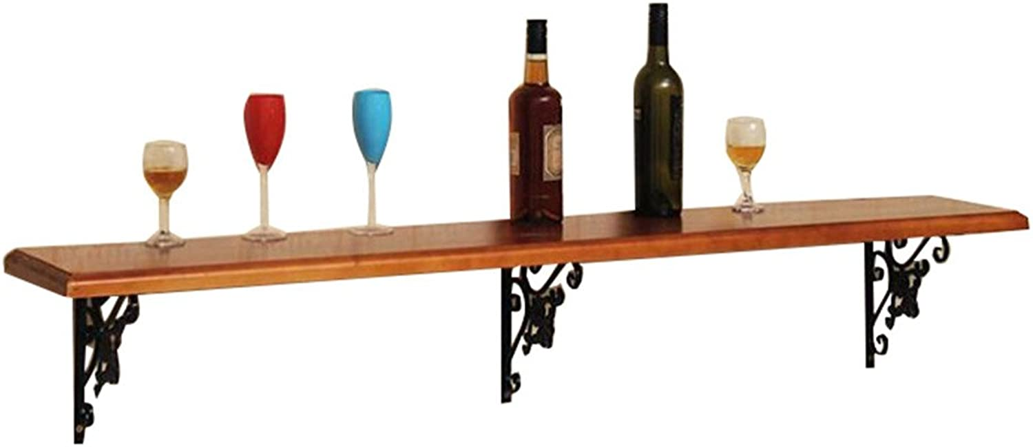 Teng Peng- Wine Rack-Wall-Mounted Pine Frame, European Retro Wall-Mounted Float, Suitable for Kitchen bar Restaurant (Size 100cmX25cmX3cm, 120cmX25cmX3cm) Home Wine Rack (Size   100cmX25cmX3cm)