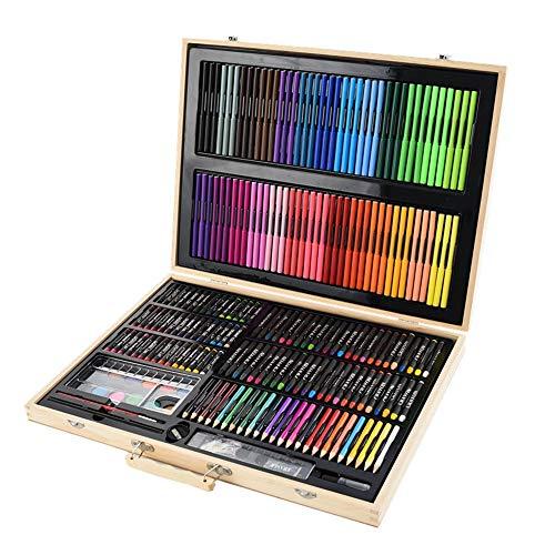 LERDBT Aquarell Pinselstifte 251 Holzkiste Malerei Set Geschenk BoxBrush Pen Crayon Aquarell Bleistift Kinder Pinsel-Set für Erwachsene Künstler Kinder Geschenk (Color : Wood, Size : Free Size)