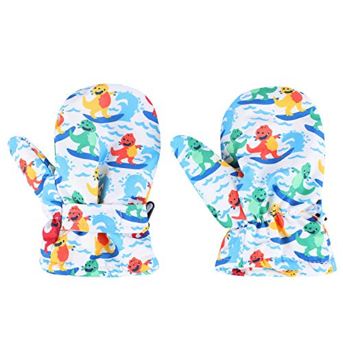 KANCOOL Baby & Toddler Mitten Waterproof Gloves for Baby Skiing Gloves Baby Mittens Linned Fleece [4-6T w/Thumbs, Colorful]