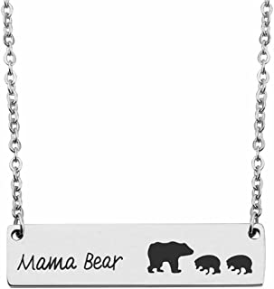 Sweet Family Mama Bear Baby Bear Bar Necklace Mother's Day Jewelry Gifts for Mom or Wife