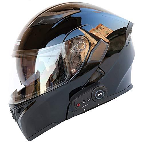 Casco Moto Integral Con Visera Solar Doble, Casco Moto Bluetooth Integrado Con FM, Casco Moto Modular Vintage, M/L/XL/XXL (57-64 CM)