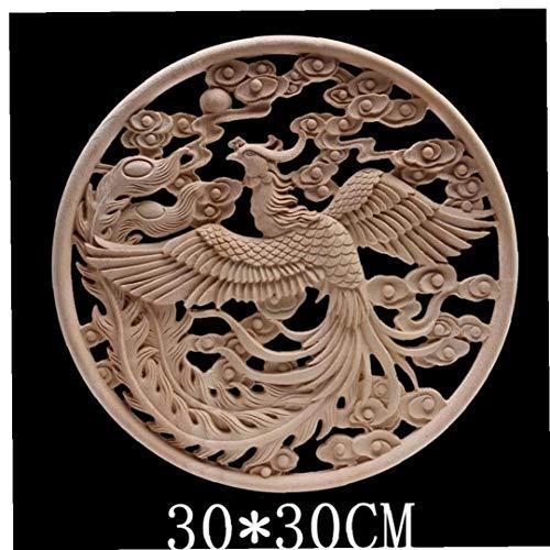1pc Natur Geschnitzte Holzrahmen Holzapplikationen Blatt-Blumen-Gummi Holz Onlay Dekoration Für Schrankmöbel Wände Corner