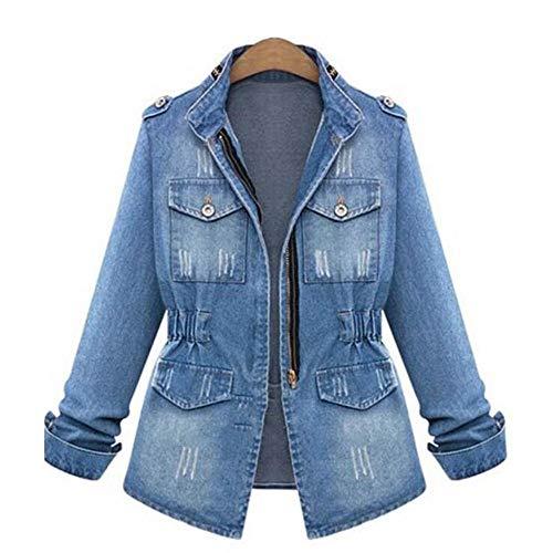 ZVHUK Herbst Revers Denim Gewichtsverlust Shirt Taille Elastische Lange Blaue Jeansjacke Übergroße Jeans Windjacke Lässig,Blau,L