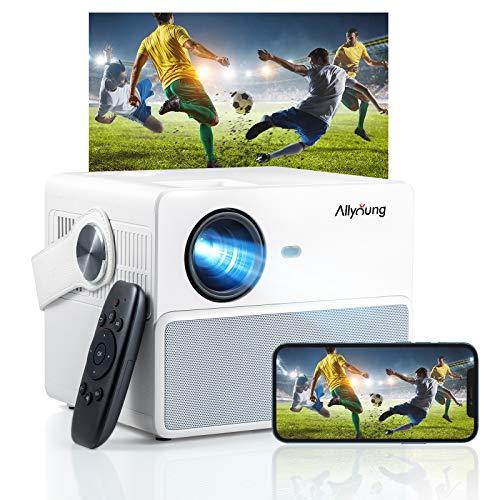 Mini Beamer Tragbarer, Allyoung Projektor mit Bluetooth, HiFi Stereo Surround Dual Sound, 6000 Lumen HD Videoprojektor Unterstützung 1080P, kompatibel mit iPhone / Android / iPad / Mac / Laptop / PC.
