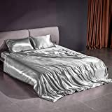 THXSILK Silk Duvet Cover Set 4 Piece, 22 Momme Silk Sheets, Luxury Bedding Sets - Ultra Soft, Machine Washable, Durable - 100% Top Grade Mulberry Silk - California King Size, Grey