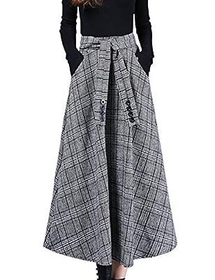 Liengoron Women's Fsahion Elastic Waist Belted Wool Blend Check Plaid Midi Skirt