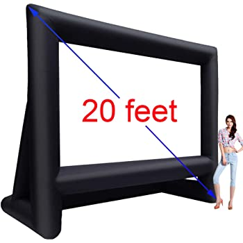 Base Stakes,Tie-Downs and Storage Bag Includes Big Power Fan 22 Feet Inflatable Outdoor Movie Projector Screen,Blow Projector Screen Projection Screen for Outdoor Backyard 22feet