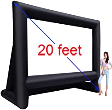 20' Inflatable Outdoor Projector Movie Screen - Package with Rope, Blower + Tent Stakes - Great for Outdoor Backyard Pool Fun (20 feet)