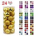 "GameXcel Christmas Balls Ornaments for Xmas Tree - Shatterproof Christmas Tree Decorations Perfect Hanging Ball Gold 1.6"" x 24 Pack"