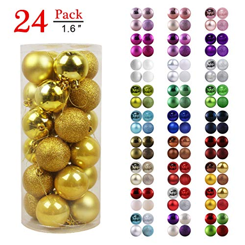 GameXcel Christmas Balls Ornaments for Xmas Tree - Shatterproof Christmas Tree Decorations Perfect Hanging Ball Gold 1.6' x 24 Pack