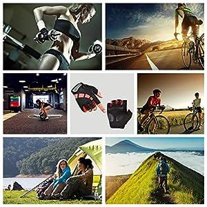 Nesirooh Guantes de MTB Hombre y Mujer, Guantes de Ciclismo Medio Dedos Verano para Moto Bicicleta Bici Gimnasio Hombres Antideslizante Transpirable (Negro Rojo, L)