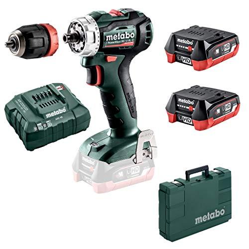 Metabo 601039800 601039800-Taladro Atornillador sin escobillas a bateria 12V / 2X LiHD 4,0 Ah Li-Ion PowerMaxx BS 12 BL Q con maletín, 12 V, Negro, Verde, Rojo, Plata