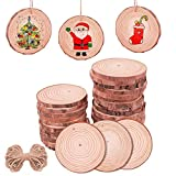 Linkax Wood Slices 8-9cm 30 Pcs Rustic Unfinished Wood Log Discs Predrilled Wooden Circles for DIY Arts Crafts Halloween Christmas Ornaments Wedding