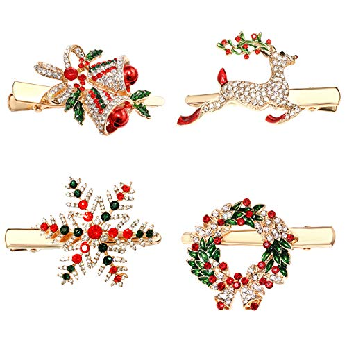 CENAPOG Christmas Hair Clips for Women Girls Sparkly Rhinestone Reindeer Wreath Hairpins Xmas Themed Snowflake Jingle Bell Hair Barrettes Festive Party Hair Accessory Gifts