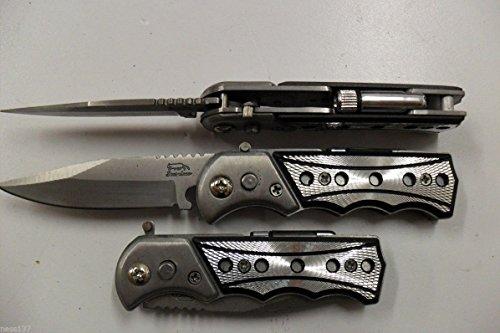 La Petite Caverne- Petit Couteau Pliant de Poche Lame Acier 6,5 cm Manche Alu 8 cm Chasse Peche