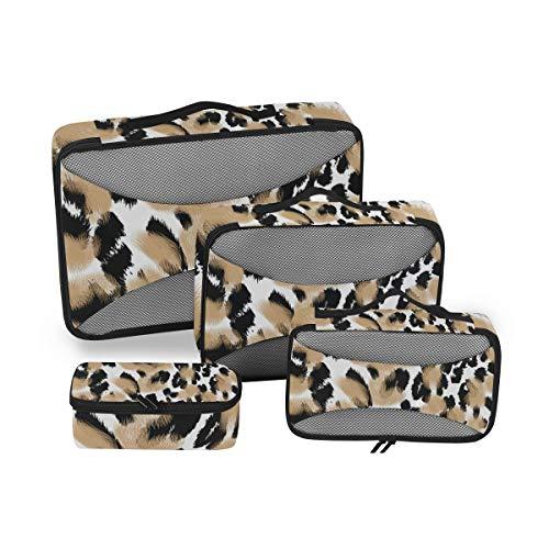 CPYang - Juego de 4 Cubos de Embalaje con diseño de Leopardo para Equipaje, organizadores de Viaje, Bolsa de Almacenamiento de Malla para Maleta