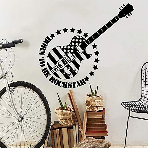 Pegatinas de pared de guitarra divertidas decoración familiar murales de habitaciones para niños sala de entrenamiento de música de guitarra pegatinas de arte de pared calcomanías A7 43x66cm
