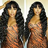 Loose Deep Wave Wigs With Bangs Virgin Brazilian Loose Deep Wave Wigs None Lace Front Wigs Human Hair Wigs 130% Density Glueless Machine Made Wigs For Black Women Natural color 20 inch