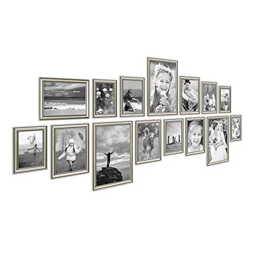 PHOTOLINI 15er Bilderrahmen-Collage Silber Barock Antik aus Kunststoff inklusive Zubehör/Foto-Collage/Bildergalerie/Bilderrahmen-Set