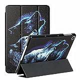 Funda para Samsung Galaxy Tad S7 Plus T970/T975 (S7 FE/T730/T736B) – Funda de piel sintética ultra ligera con función atril para despertar/sueño, lobo nocturno