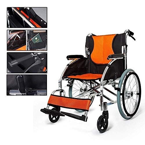 LIMEI-ZEN Self-Propelled Wheelchair for Men Amp; Women - Portable Wheelchair - Lightweight Folding Transport Chair with Solid Tires Amp; Armrest Seat Rht Wheelchair