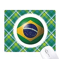 ブラジル国旗サッカーワールドカップ 緑の格子のピクセルゴムのマウスパッド